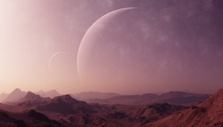 3d rendered Space Art: Alien Planet - A Fantasy Landscape with purple skies