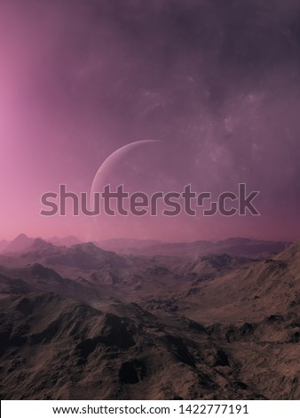 3d rendered Space Art: Alien Planet - A Fantasy Landscape with purple skies stock photo