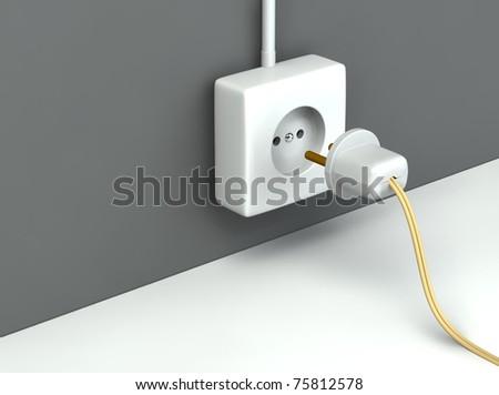 3d rendered standart outlet with  a plug