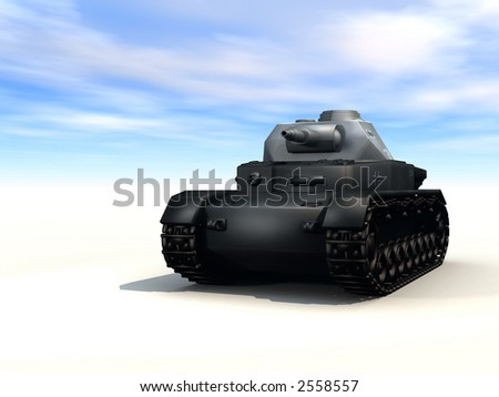 3d rendered tank pointing towards viewer w/ sky background