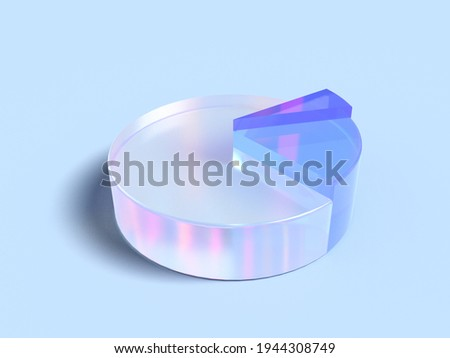 3D rendered transparent pie char with two highlighted parts on a light background. Illustration for business success or presentation of results. Visualization for markets and statistics.