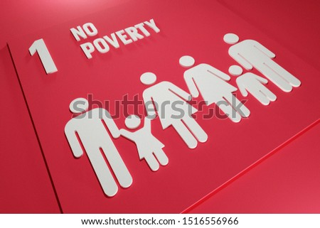 3D rendered United Nation SDG Sustainable Development Goals 17 Goals  1 No Poverty Icon Symbol for Report and Presentation of Non Profit Organization Red suit for Slider Article Website Background