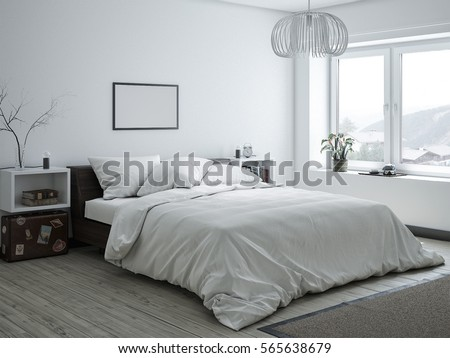 3D Rendered White Minimal Bedroom Interior Design #565638679