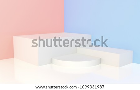 3d rendered - White podium with pink and blue background for display
