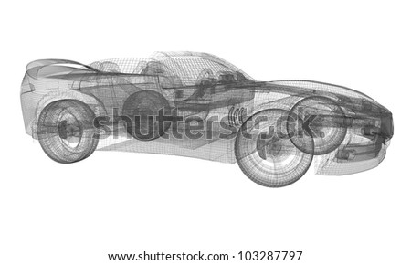 3D rendered wireframe Concept Sports Car