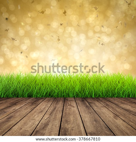 3d rendered wooden footpath with green grass on abstract background