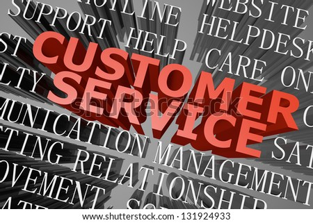 3D rendered word cloud of customer service concept