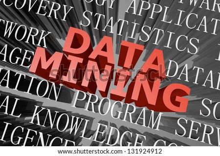 3D rendered word cloud of data mining concept