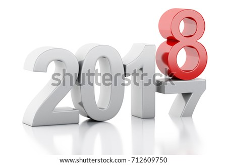 3d renderer image. New Year 2018 isolated on white background.