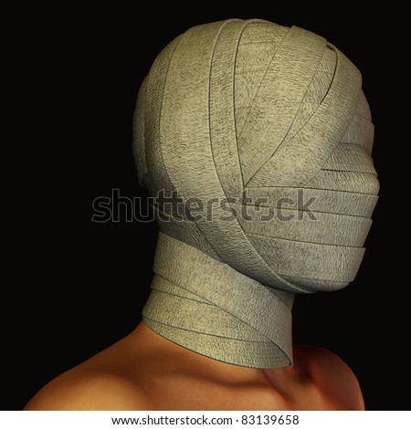 3d rendering a bandaged head as illustration