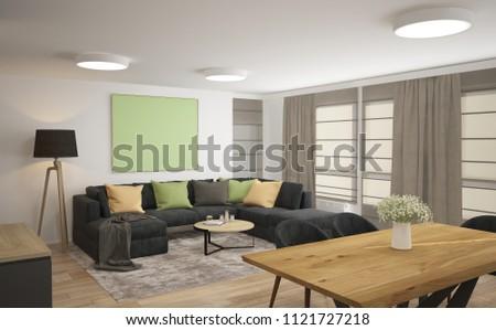 3d rendering a living room  interior design #1121727218