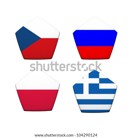 3d rendering a part of soccer ball with flag pattern, European Soccer Championship Group A