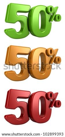 3D rendering a set of 50 percent in red, yellow and green letters on a white background
