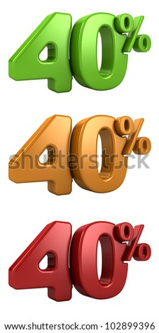 3D rendering a set of 40 percent in red, yellow and green letters on a white background