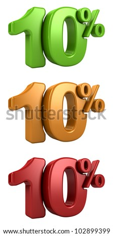 3D rendering a set of 10 percent in red, yellow and green letters on a white background
