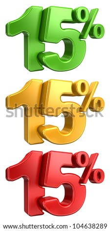 3D rendering a set of 15 percent in red, yellow and green letters on a white background