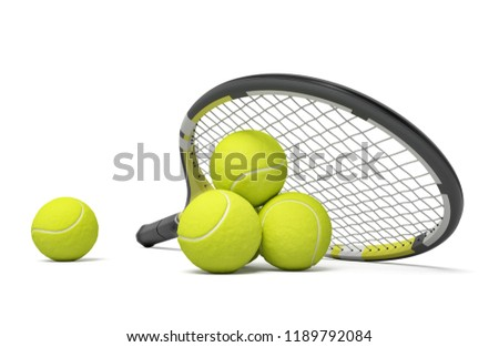 3d rendering a single tennis racquet lying with a yellow balls on white background. Tennis as sport. Tennis as hobby. Tennis classes.