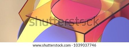 3d rendering abstract background with wavy shapes.Transparent tinted glass and textured rough objects. Colorful geometric composition. Computer generated digital art.