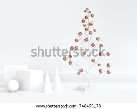 3d rendering abstract christmas tree copper sphere white geometric shape minimal abstract white scene christmas new year holiday winter concept