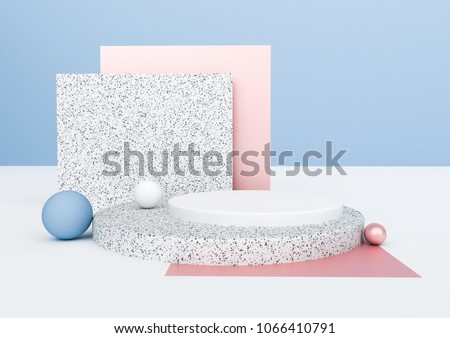 3d rendering abstract composition. Geometric shapes on white background for product presentation or mockup. Minimalistic design with empty space. stock photo