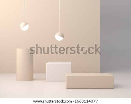 3d rendering, abstract cosmetic background. Minimal podium to show a product. Empty scene with spherical lights . Pastel cream minimal wall. Fashion showcase, display case, shopfront.