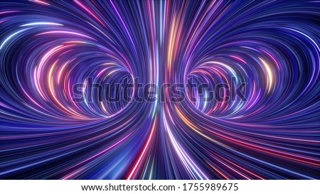 3d rendering, abstract cosmic background, ultra violet neon rays, glowing lines, cyber network, speed of light, space and time strings, bright twist Сток-фото ©