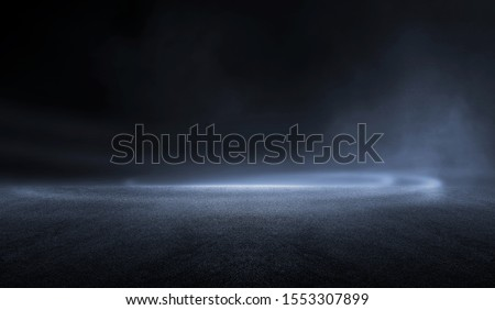 3D Rendering abstract dark night creative blurry outdoor asphalt background with mist light high speed