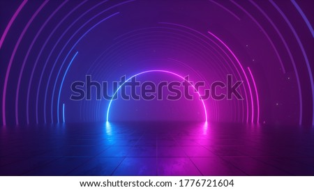3d rendering, abstract futuristic pink blue neon background, cosmic wallpaper, round arch glowing in ultraviolet spectrum