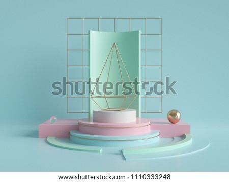 3d rendering, abstract geometric background, primitive pyramid shape, modern minimalistic mock up, blank template, empty showcase, art deco shop display, mint blue pink pastel colors