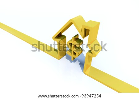 3-D rendering abstract golden house with a price-symbol