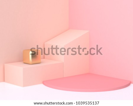 3d rendering abstract pink cream wall corner geometric shape