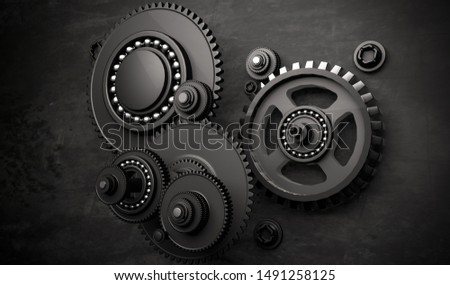 3D Rendering,Abstract realistic of the cogwheels with metal material , darkness background.