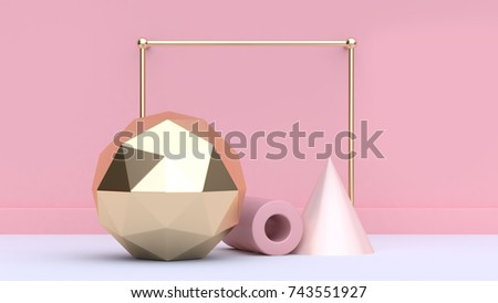 3d rendering abstract sphere-angle soft pink cone and pink tube geometric shape form white floor minimal pink background-wall