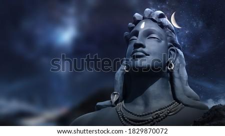 3D Rendering Adiyogi Black Shiv Sculpture Coimbatore Statue With Moon On The Head with stars on 3D illustration Shiva