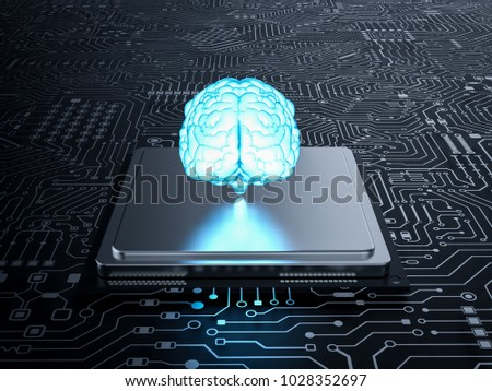 3d rendering ai brain with cpu...