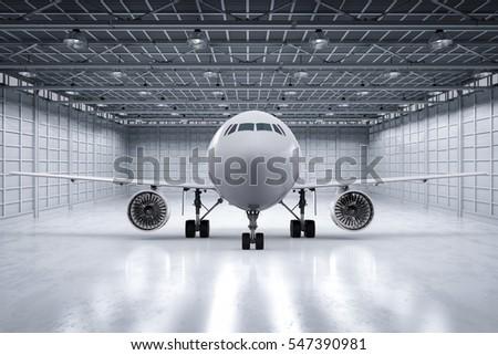 3d rendering airplane in hangar