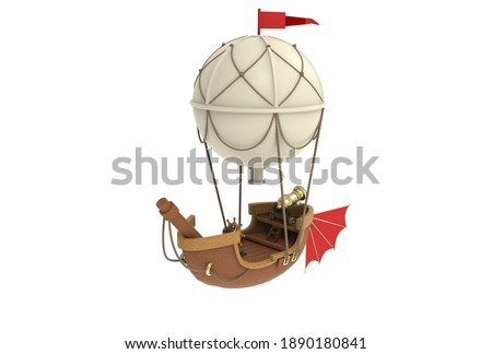 3d rendering airship fantasy cartoon style balloon pirate cannon barrels mast tail fin ropes white background isolate Foto stock ©