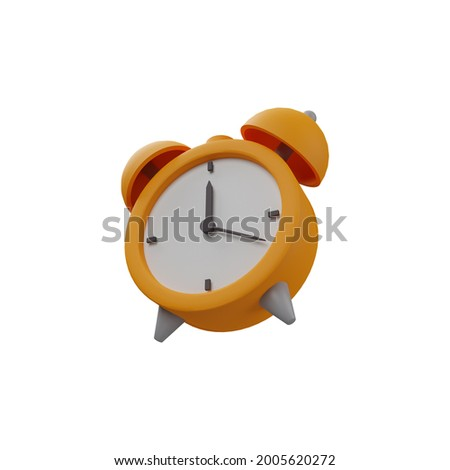 3D rendering alarm clock illustration on white background. Isolated 3D alarm clock icon. Isolated illustration of 3d alarm clock