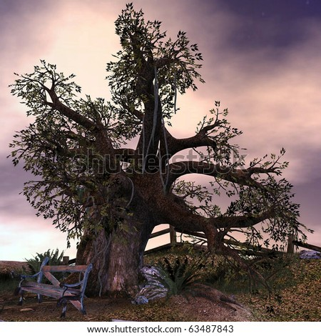 3d rendering an old tree at an abandoned place as illustration
