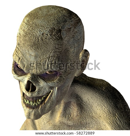 3D rendering an undead zombies with an evil eye - stock photo