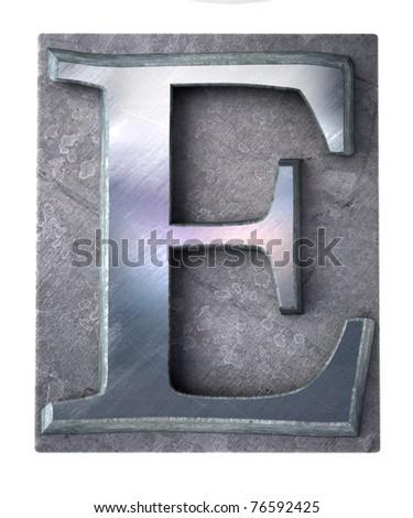 3D rendering an upper case E   letter in metallic typescript print (part of a matching alphabet)