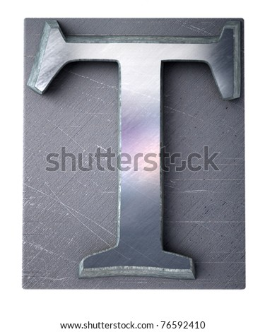 3D rendering an upper case T   letter in metallic typescript print (part of a matching alphabet)
