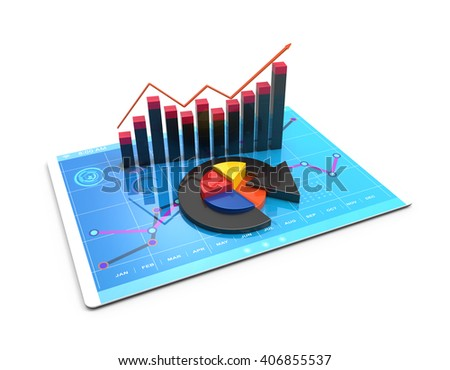 3D Rendering analysis of financial data in charts, accounting, business, taxes, banking, statistics, vision for the future