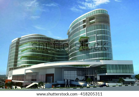 3d rendering and design - commercial mall and administrative center - main view