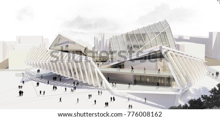 3d rendering and design- contemporary cultural center