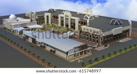 3d rendering and design - religious and recreational complex - general view 3