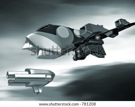 3D rendering and digital painting of a space fighter.