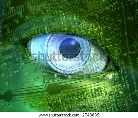 3D rendering and illustration of a cyborg eye.