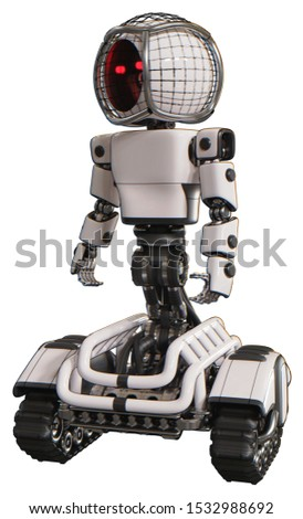 3d Rendering: Android containing elements: round barbed wire round head, light chest exoshielding, prototype exoplate chest, tank tracks. Material: White. Situation: Standing looking right restful pos