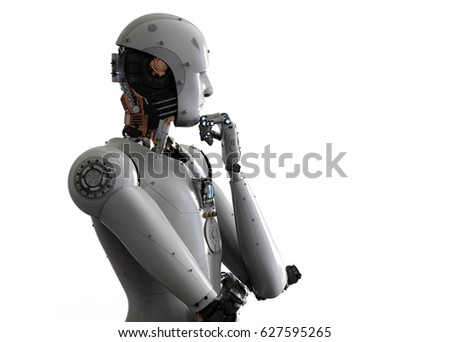 3d rendering android robot thinking on white background 商業照片 ©